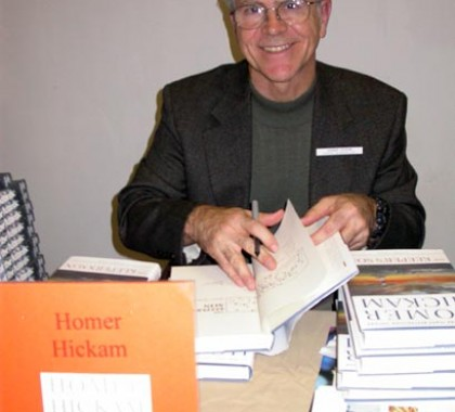 Homer signing The Keeper's Son, 2003