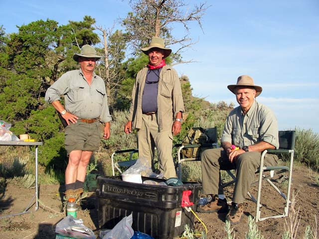 Frank, Bill, and Homer after a day of dinosaur-hunting near Hell Creek, Montana.