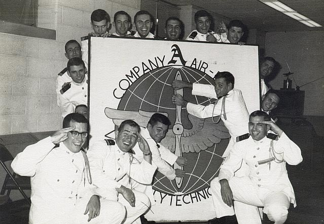 Homer and fellow seniors of Company A, Virginia Tech Corps of Cadets, 1964.