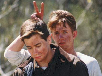 """Wonder where he learned that? On set: Chad Lindberg as """"O'Dell"""" and Jake Gyllenhaal as Homer"""