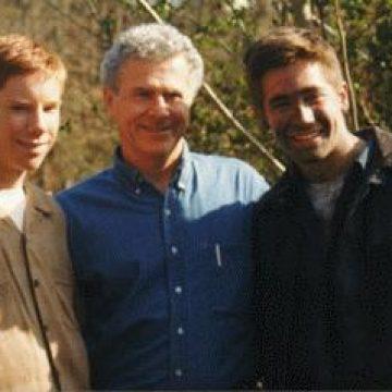 On Set: Chris Owen (Quentin Wilson), Homer Hickam, and Jake Gyllenhaal (Homer Hickam).